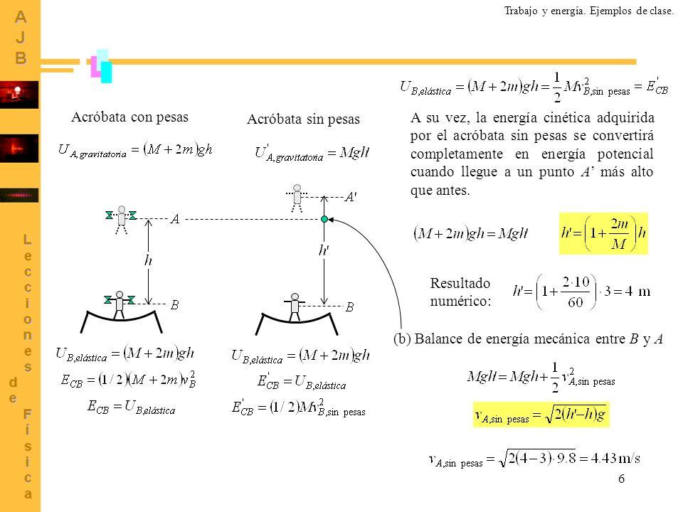 (b) Balance de energía mecánica entre B y A
