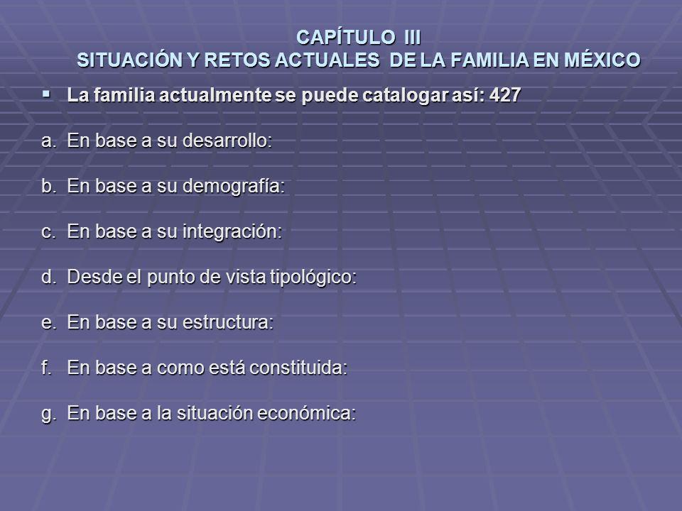 CAPÍTULO III SITUACIÓN Y RETOS ACTUALES DE LA FAMILIA EN MÉXICO