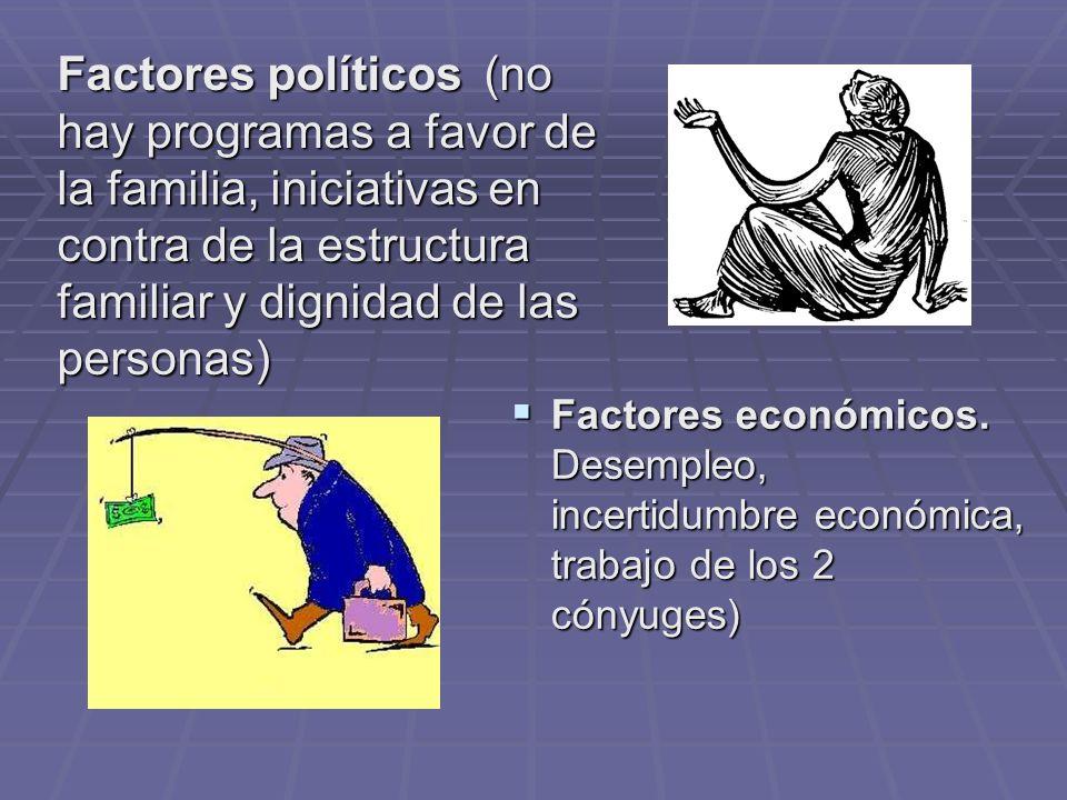 Factores políticos (no hay programas a favor de la familia, iniciativas en contra de la estructura familiar y dignidad de las personas)