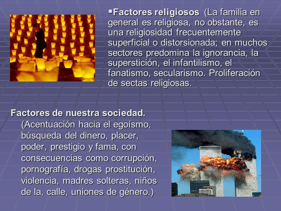 Factores religiosos (La familia en general es religiosa, no obstante, es una religiosidad frecuentemente superficial o distorsionada; en muchos sectores predomina la ignorancia, la superstición, el infantilismo, el fanatismo, secularismo. Proliferación de sectas religiosas.