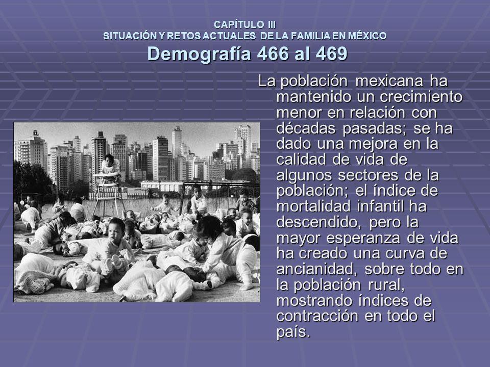 CAPÍTULO III SITUACIÓN Y RETOS ACTUALES DE LA FAMILIA EN MÉXICO Demografía 466 al 469