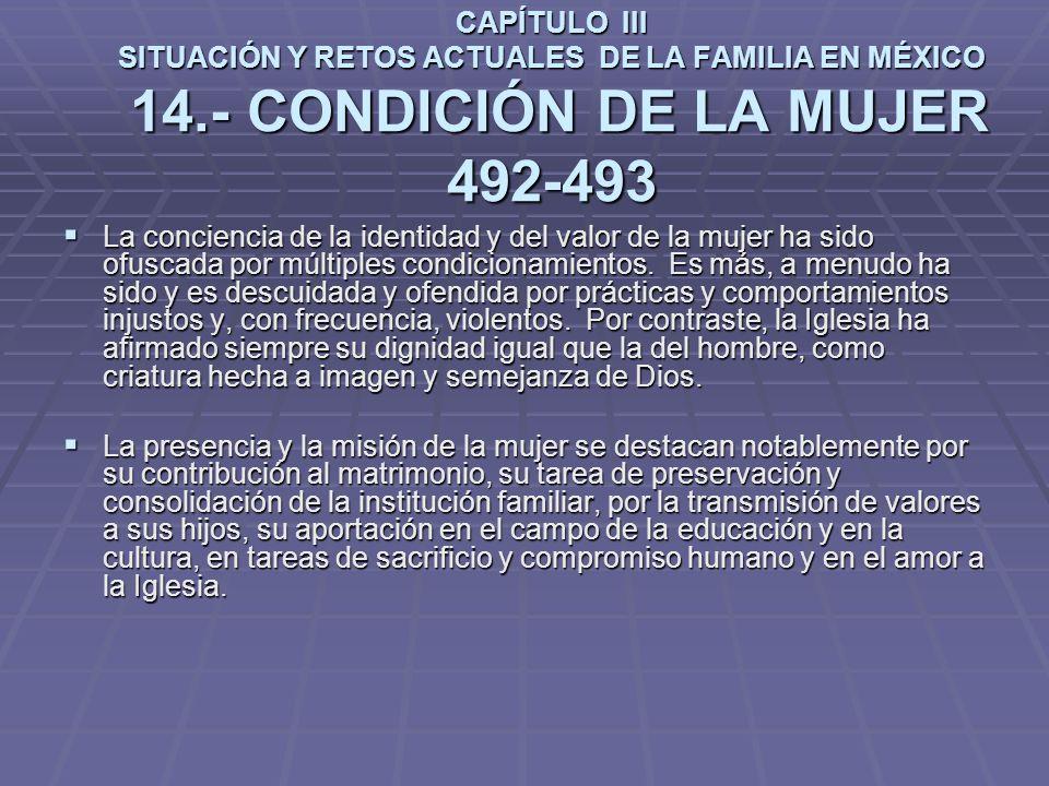 CAPÍTULO III SITUACIÓN Y RETOS ACTUALES DE LA FAMILIA EN MÉXICO 14