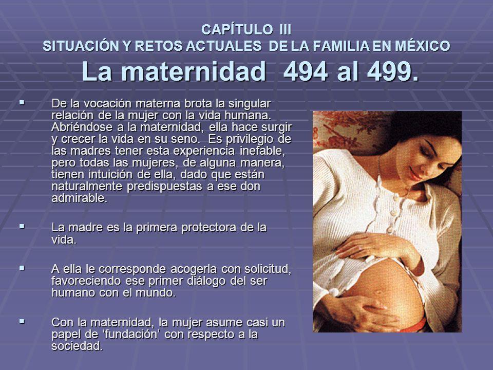 CAPÍTULO III SITUACIÓN Y RETOS ACTUALES DE LA FAMILIA EN MÉXICO La maternidad 494 al 499.