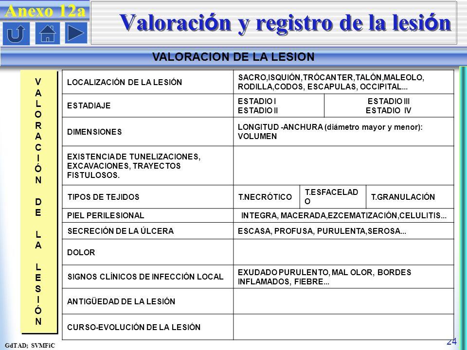 Valoración y registro de la lesión