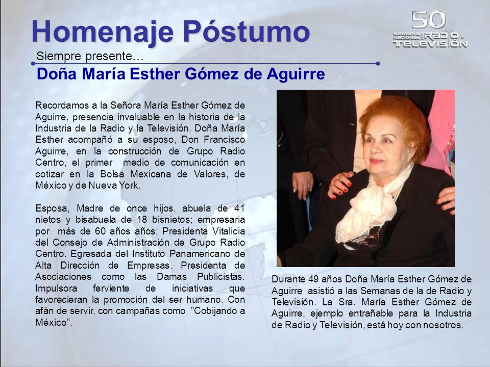 Homenaje Póstumo Doña María Esther Gómez de Aguirre Siempre presente…