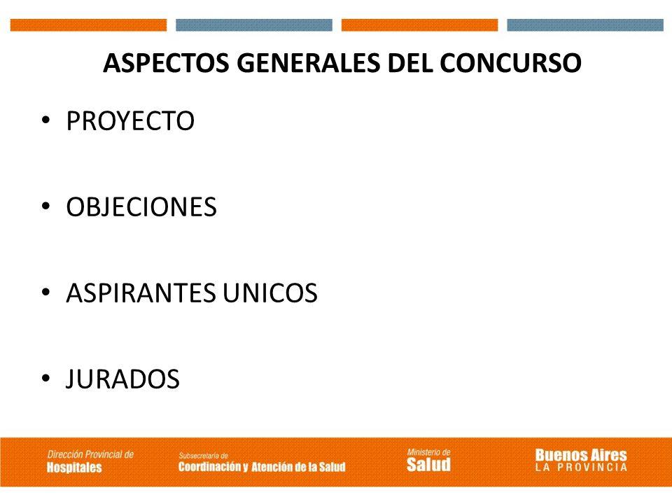 ASPECTOS GENERALES DEL CONCURSO