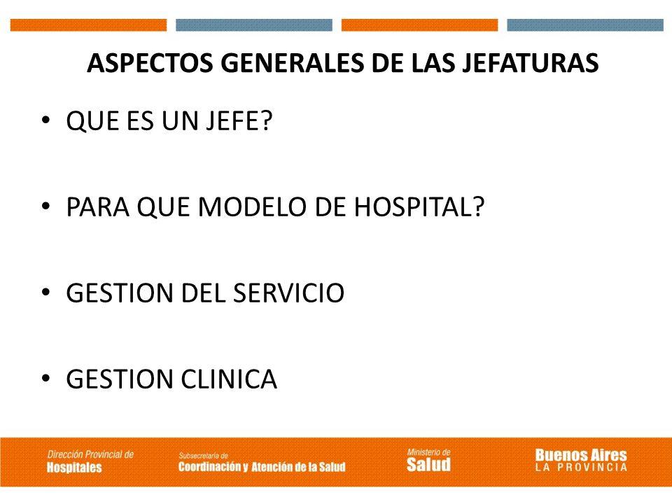 ASPECTOS GENERALES DE LAS JEFATURAS