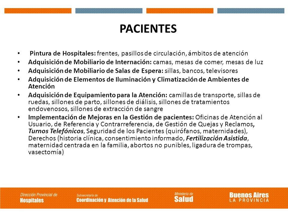 PACIENTES Pintura de Hospitales: frentes, pasillos de circulación, ámbitos de atención.
