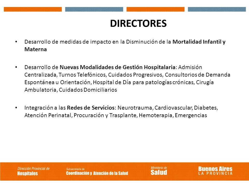 DIRECTORES Desarrollo de medidas de impacto en la Disminución de la Mortalidad Infantil y Materna.