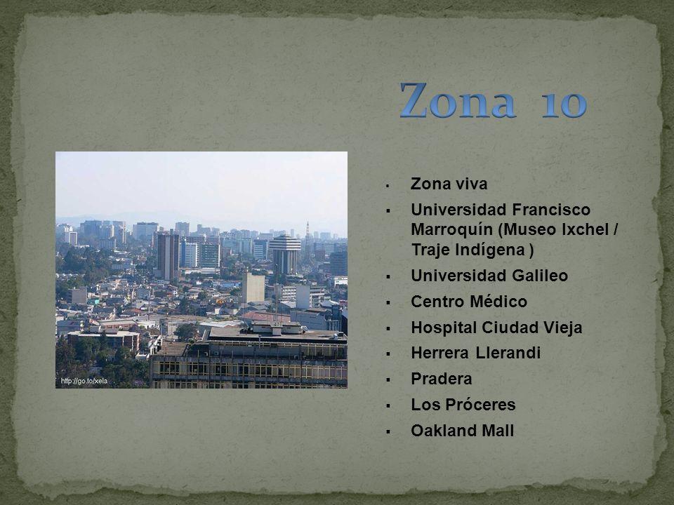 Zona 10 Zona viva. Universidad Francisco Marroquín (Museo Ixchel / Traje Indígena ) Universidad Galileo.
