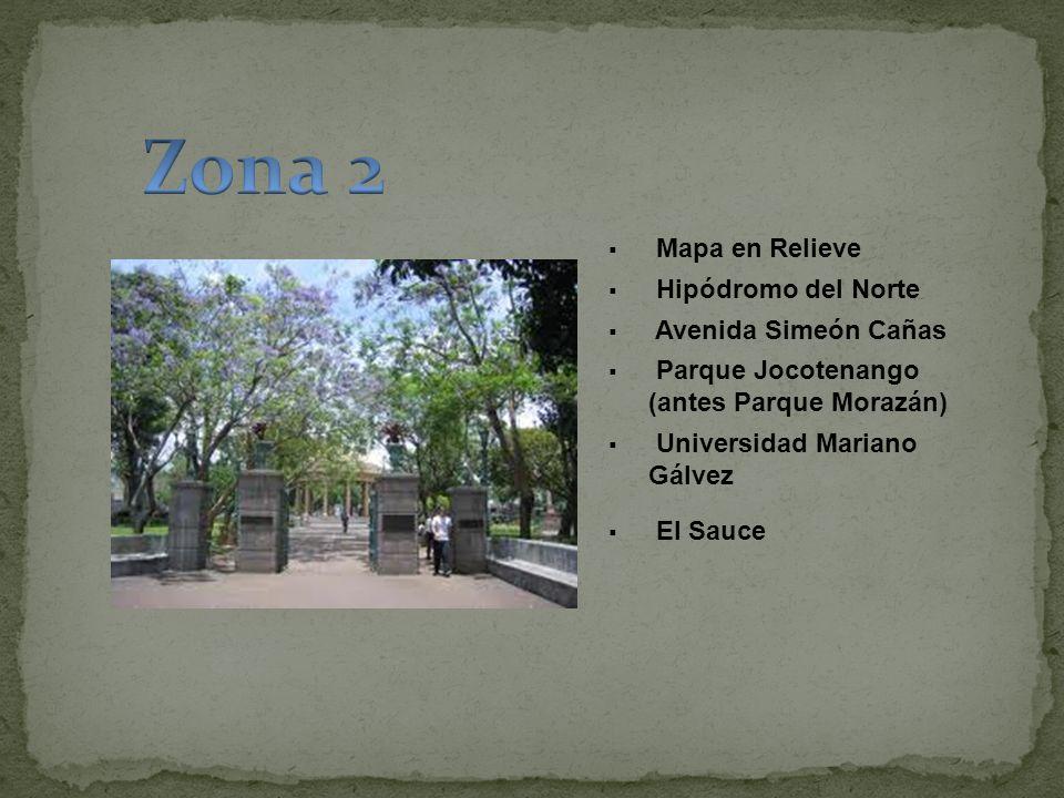 Zona 2 Mapa en Relieve Hipódromo del Norte Avenida Simeón Cañas