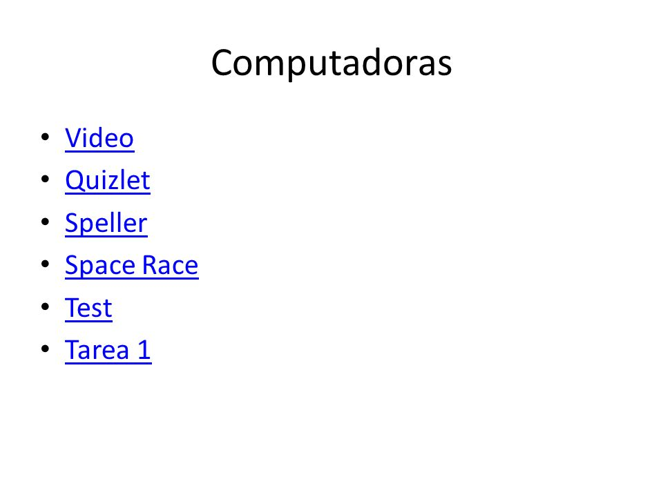 Computadoras Video Quizlet Speller Space Race Test Tarea 1