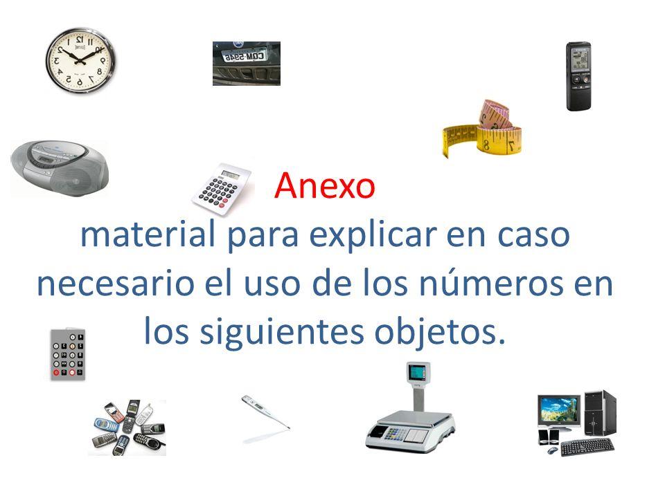 Anexo material para explicar en caso necesario el uso de los números en los siguientes objetos.