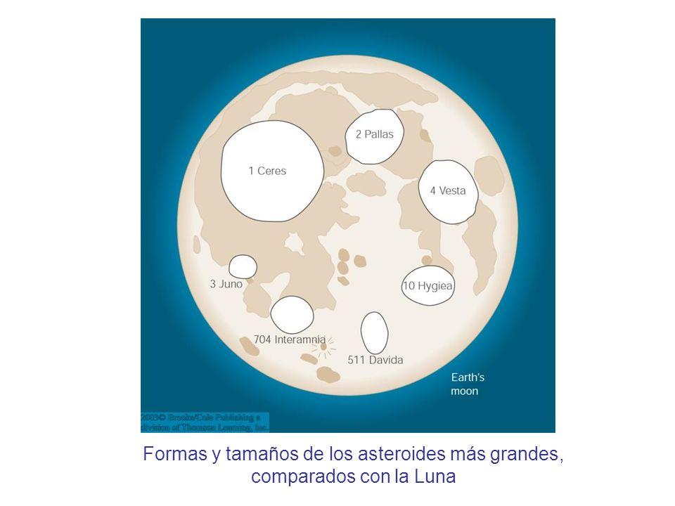 Formas y tamaños de los asteroides más grandes, comparados con la Luna