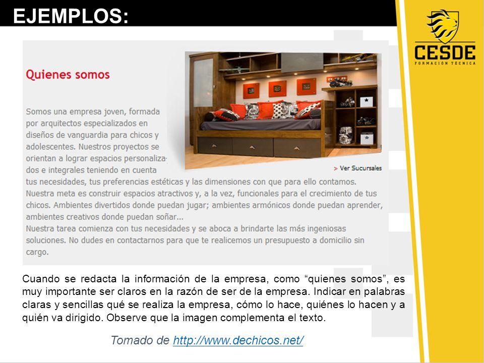 EJEMPLOS: Tomado de http://www.dechicos.net/