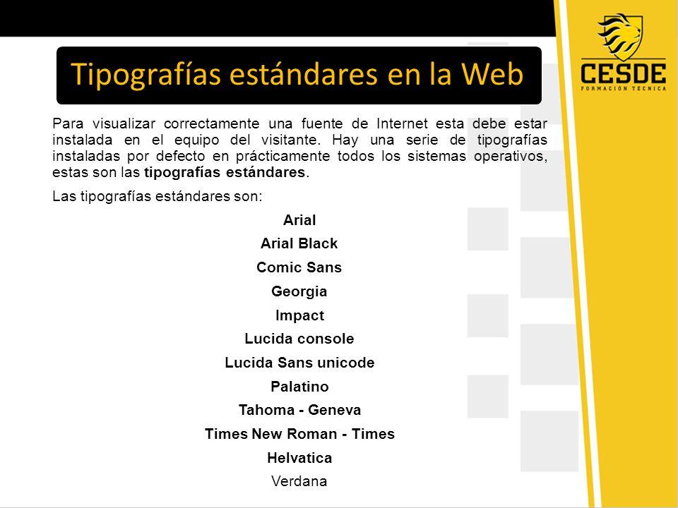 Tipografías estándares en la Web