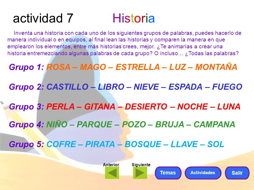 actividad 7 Historia Grupo 1: ROSA – MAGO – ESTRELLA – LUZ – MONTAÑA