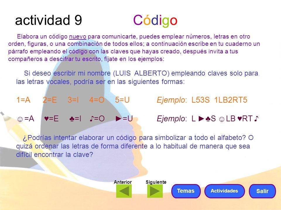 actividad 9 Código 1=A 2=E 3=I 4=O 5=U Ejemplo: L53S 1LB2RT5