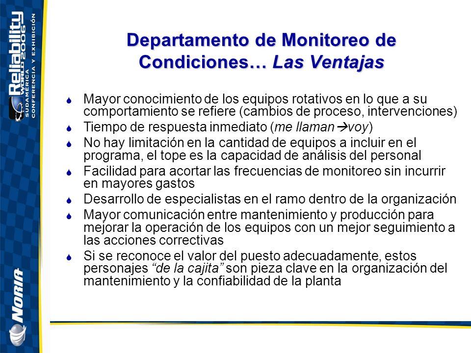 Departamento de Monitoreo de Condiciones… Las Ventajas