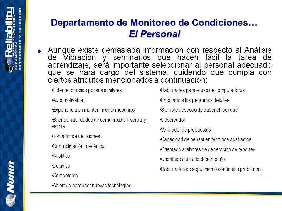 Departamento de Monitoreo de Condiciones… El Personal