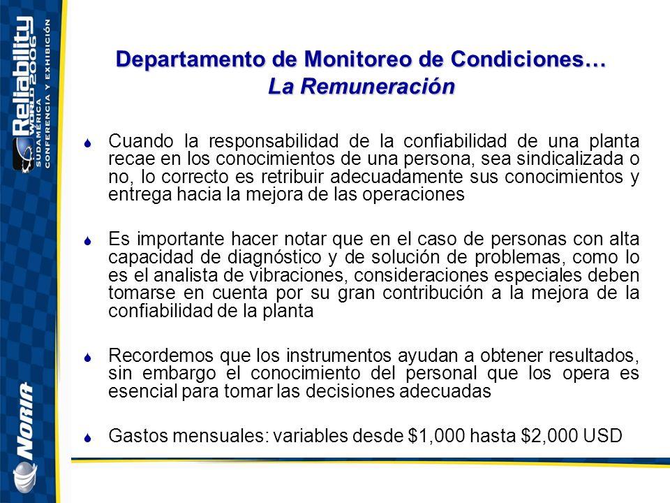 Departamento de Monitoreo de Condiciones… La Remuneración