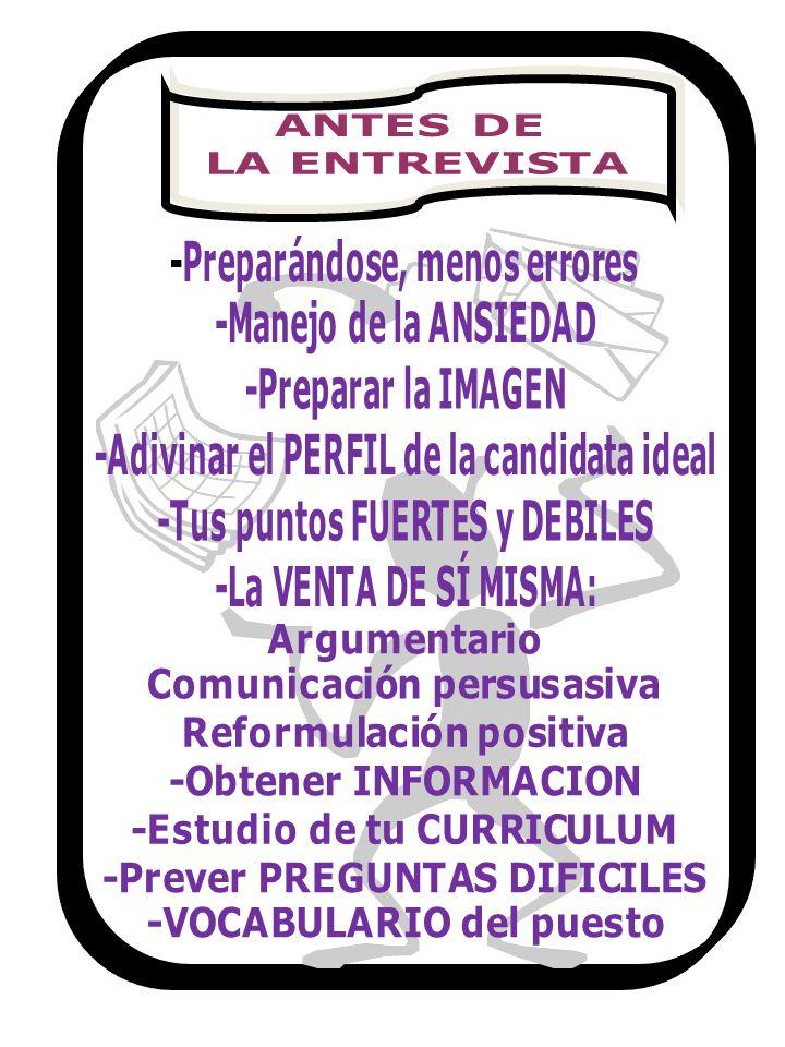 ANTES DE LA ENTREVISTA -Preparándose, menos errores