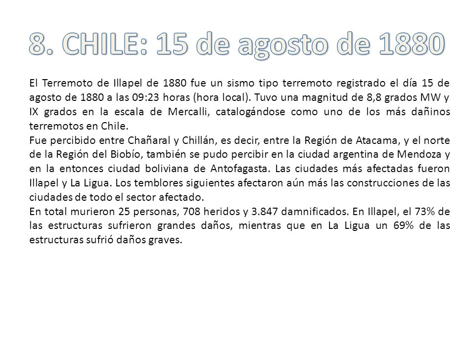 8. CHILE: 15 de agosto de 1880