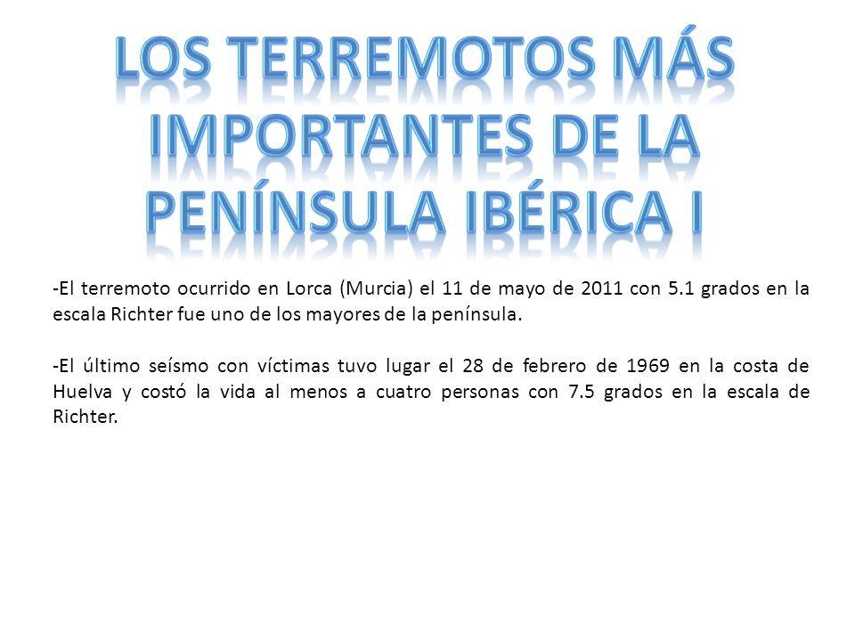 LOS TERREMOTOS MÁS IMPORTANTES DE LA PENÍNSULA IBÉRICA I