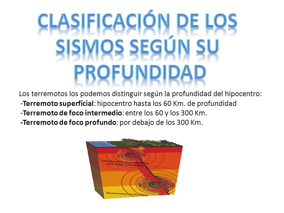 CLASIFICACIÓN DE LOS SISMOS SEGÚN SU PROFUNDIDAD