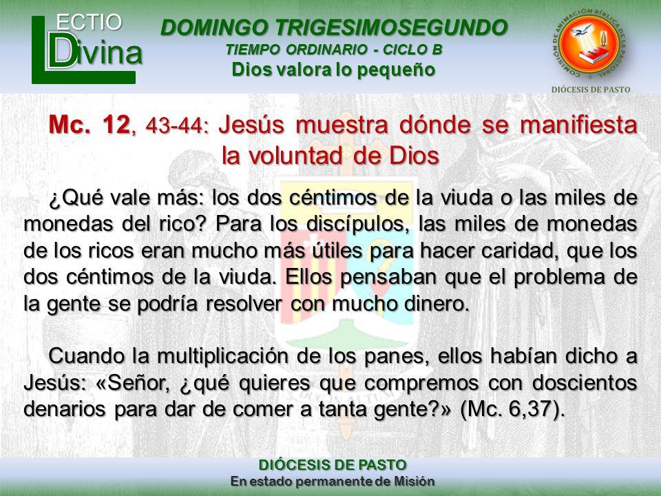 Mc. 12, 43-44: Jesús muestra dónde se manifiesta la voluntad de Dios