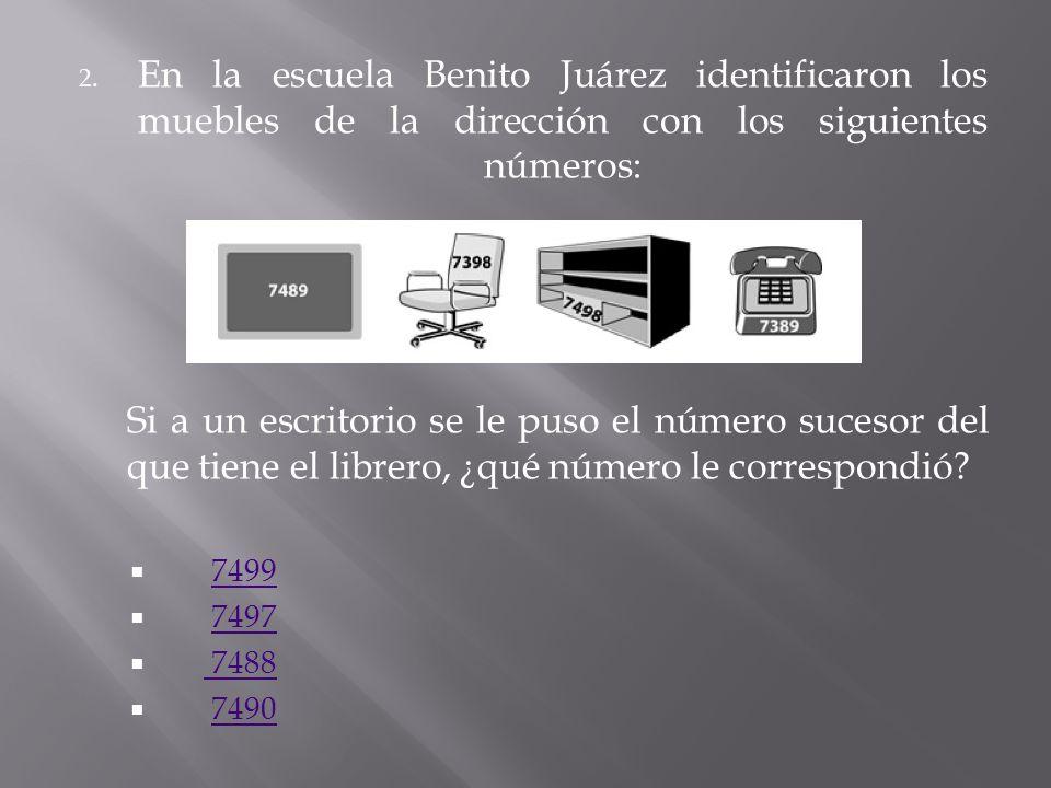 En la escuela Benito Juárez identificaron los muebles de la dirección con los siguientes números: