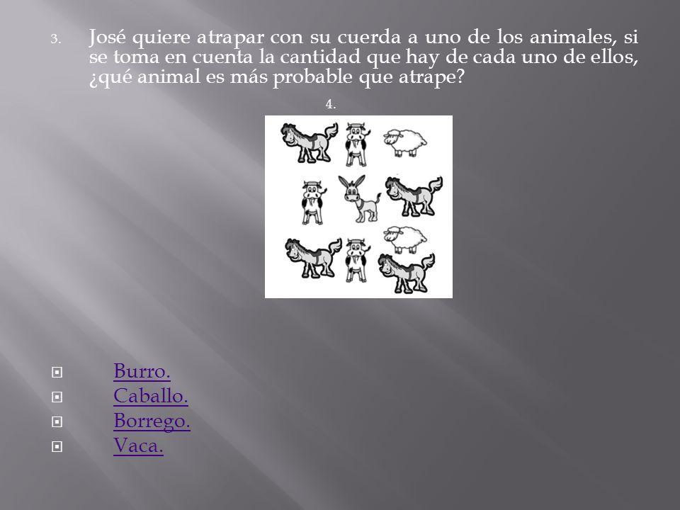 José quiere atrapar con su cuerda a uno de los animales, si se toma en cuenta la cantidad que hay de cada uno de ellos, ¿qué animal es más probable que atrape