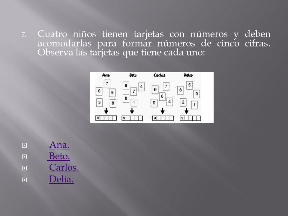 Cuatro niños tienen tarjetas con números y deben acomodarlas para formar números de cinco cifras. Observa las tarjetas que tiene cada uno: