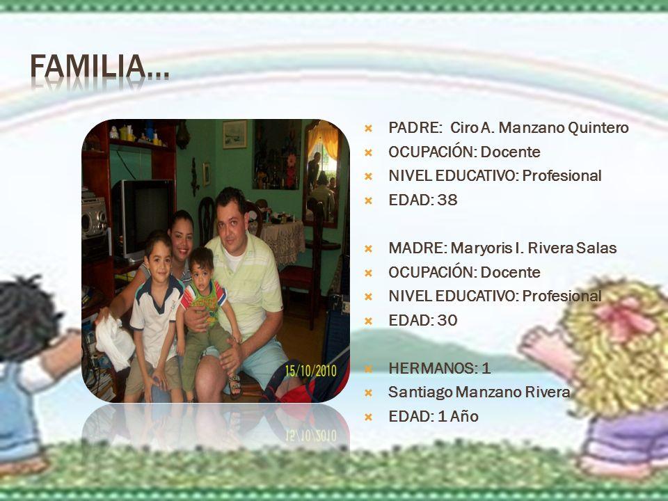 Familia… PADRE: Ciro A. Manzano Quintero OCUPACIÓN: Docente