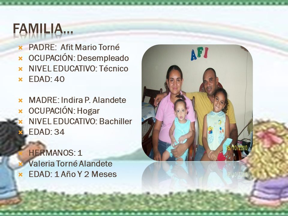 FAMILIA… PADRE: Afit Mario Torné OCUPACIÓN: Desempleado