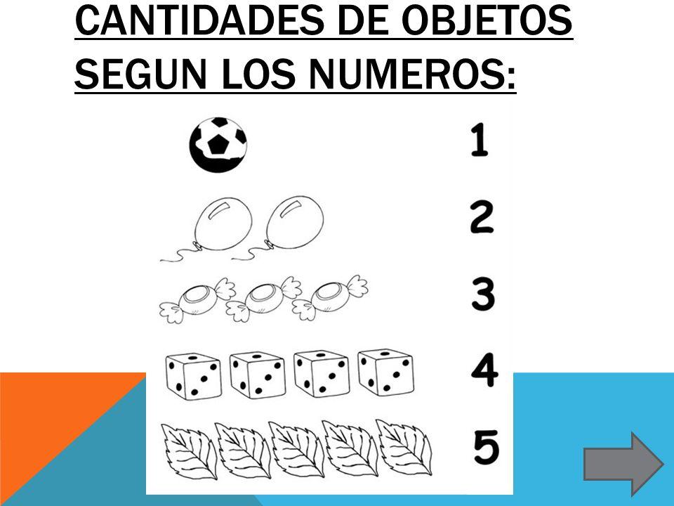 Cantidades de objetos segun los numeros: