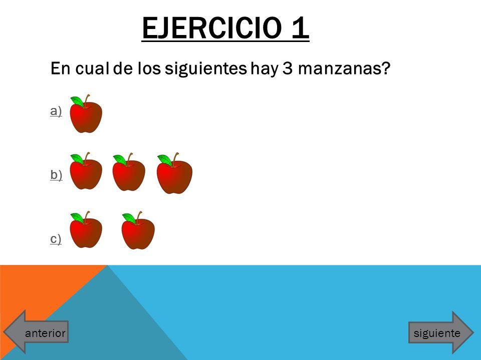 Ejercicio 1 En cual de los siguientes hay 3 manzanas a) b) c)