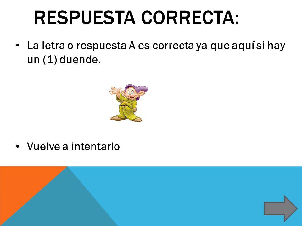 Respuesta correcta: La letra o respuesta A es correcta ya que aquí si hay un (1) duende.