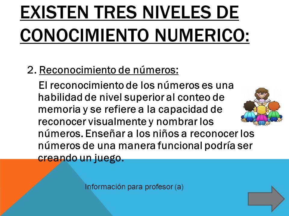 Existen tres niveles de conocimiento numerico: