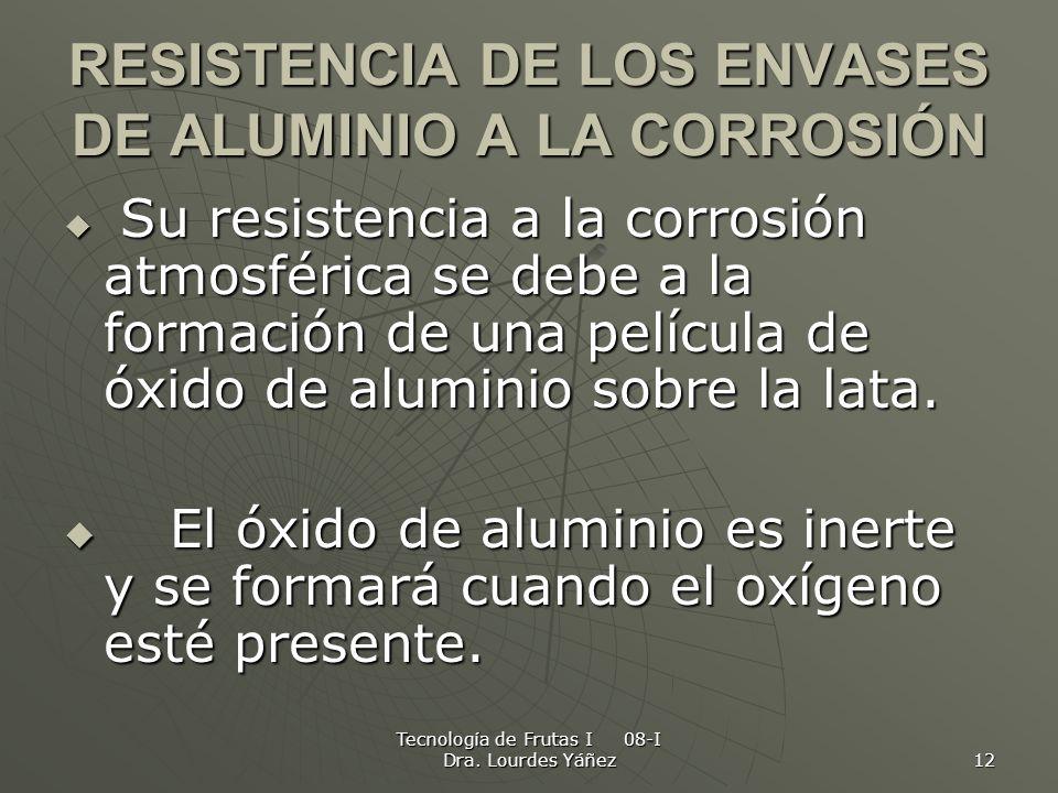 RESISTENCIA DE LOS ENVASES DE ALUMINIO A LA CORROSIÓN