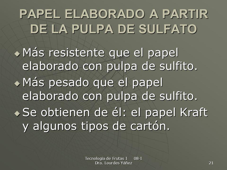 PAPEL ELABORADO A PARTIR DE LA PULPA DE SULFATO