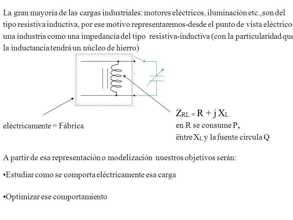 La gran mayoría de las cargas industriales: motores eléctricos, iluminación etc.,son del