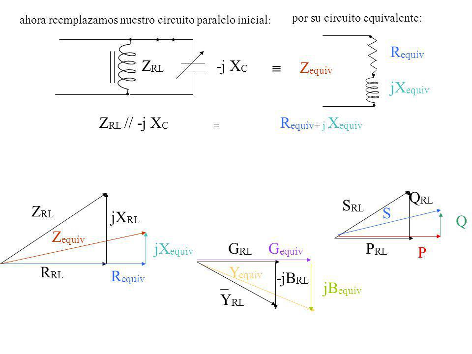 Requiv jXequiv Zequiv ZRL -j XC  ZRL // -j XC = Requiv+ j Xequiv PRL