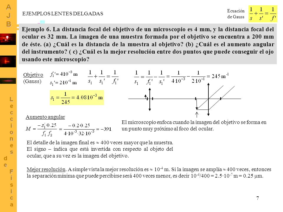 Ecuación de Gauss EJEMPLOS LENTES DELGADAS.