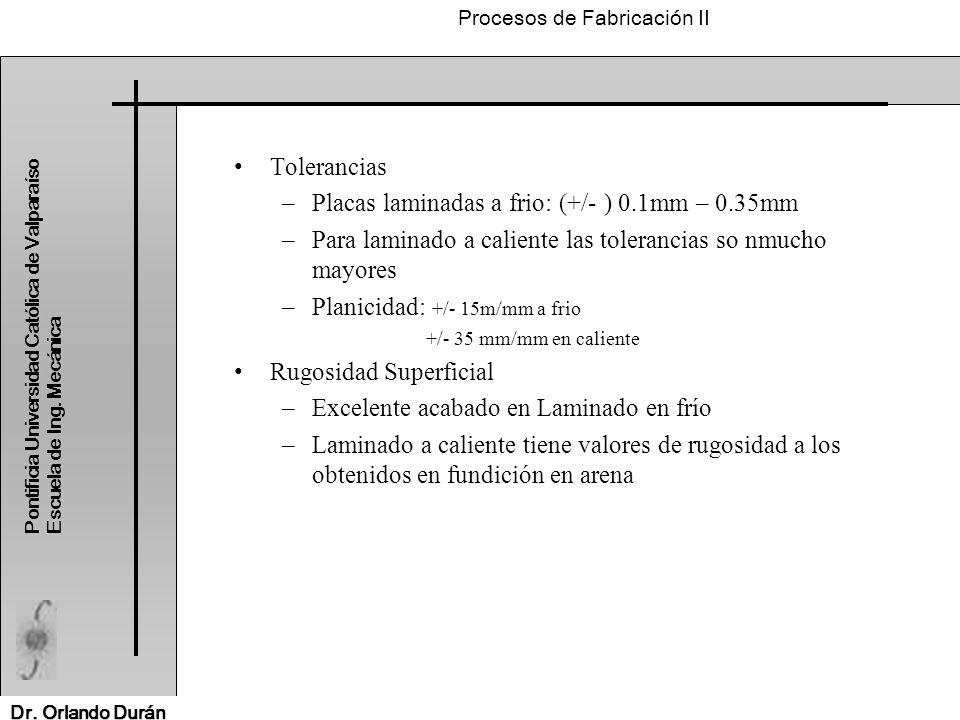 Placas laminadas a frio: (+/- ) 0.1mm – 0.35mm