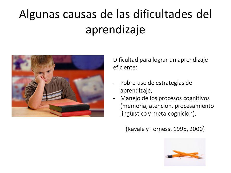 Algunas causas de las dificultades del aprendizaje
