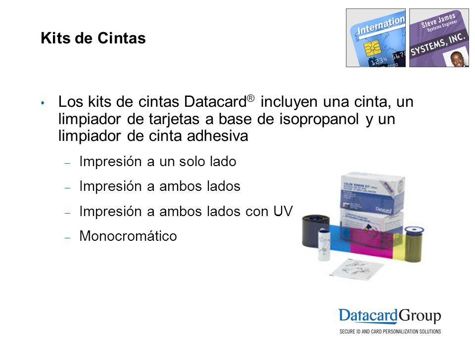 Kits de Cintas Los kits de cintas Datacard® incluyen una cinta, un limpiador de tarjetas a base de isopropanol y un limpiador de cinta adhesiva.