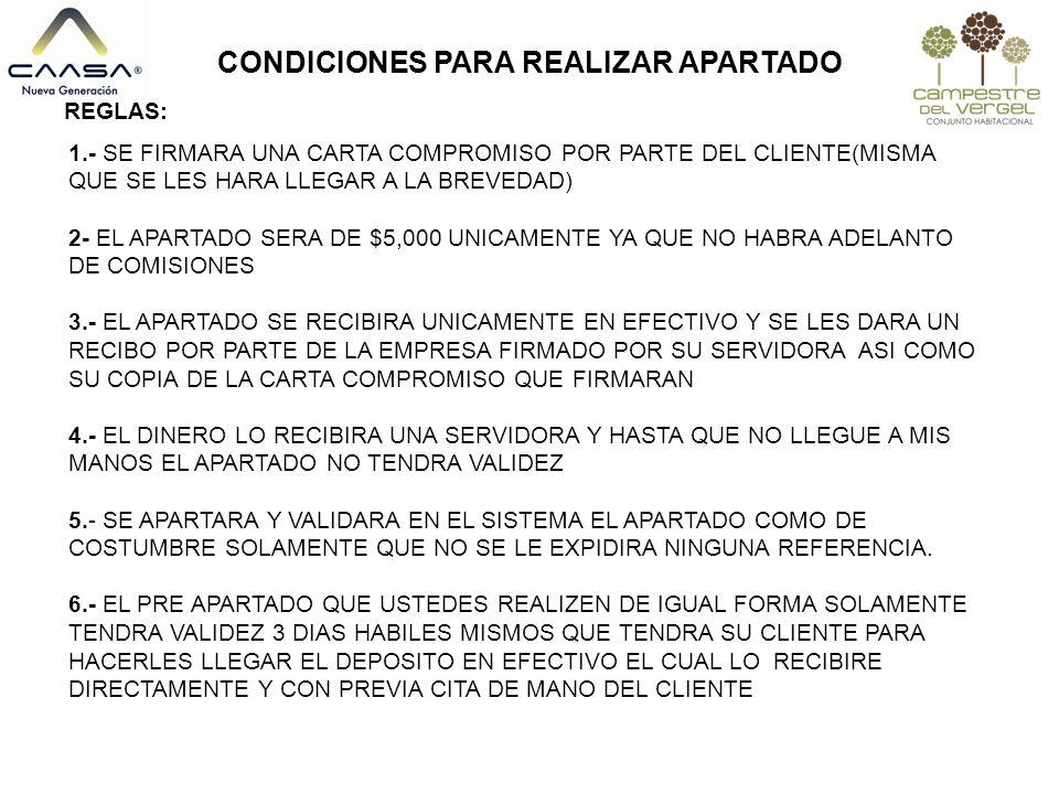 CONDICIONES PARA REALIZAR APARTADO