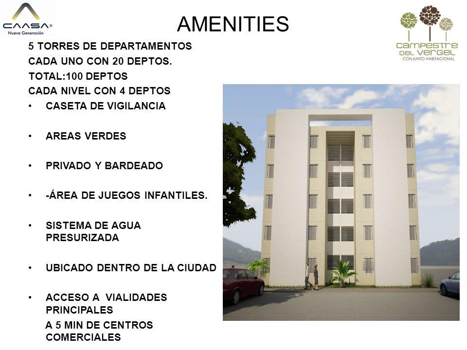 AMENITIES 5 5 TORRES DE DEPARTAMENTOS CADA UNO CON 20 DEPTOS.