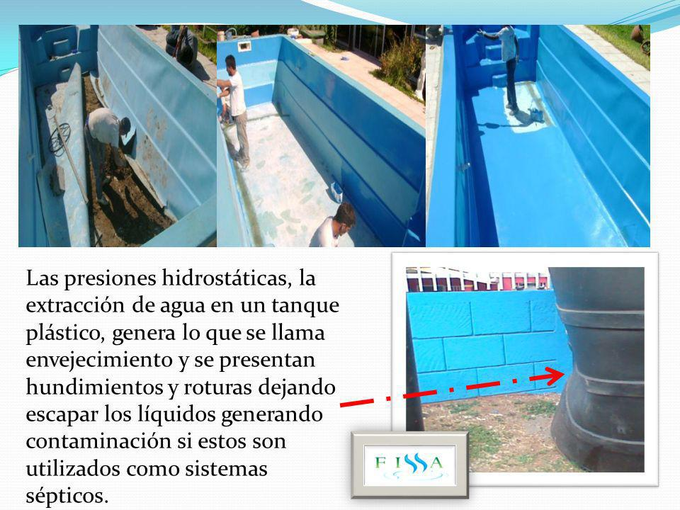 Las presiones hidrostáticas, la extracción de agua en un tanque plástico, genera lo que se llama envejecimiento y se presentan hundimientos y roturas dejando